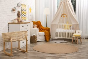 Stylish,Baby's,Room,With,Comfortable,Cot.,Interior,Design